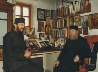 Архимандрит Сильвестр в келье Иосифа в Ватопедском монастыре, 2011 год