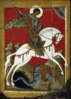 Чудо св. Георгия о змие. Икона, конец XIV в.