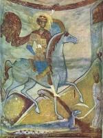 Вкм. Георгий. Фреска диаконника церкви св. Георгия в Старой Ладоге. Посл. четверть XII в. Старая Ладога