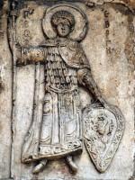 Св. Георгий. Рельеф портала Георгиевского собора в Юрьеве-Польском. 1234 г