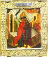 Икона Зачатие святой Анны (Встреча Иоакима и Анны). Конец XVI века. Государственный исторический музей, Москва.