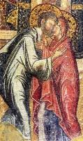 Встреча Иоакима и Анны у Золотых Ворот. XIV в. Фрагмент мозаики церкви монастыря Хора (Кахрие Джами), Стамбул, Турция.