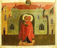 Икона Зачатие святой Анны. Конец XVII века.