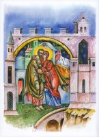 Встреча Иоакима и Анны. Зачатие Пресвятой Богородицы. Рисунок Л. Смирновой в книге «Образ терпения и надежды».
