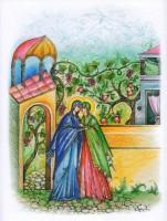 Встреча Марии и Елисаветы. Рисунок Л. Смирновой в книге «Образ терпения и надежды».