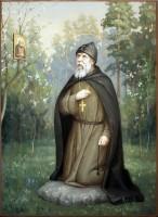 Преподобный Серафим Вырицкий в молении на камне. Современная икона.