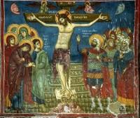 Распятие. Фреска церкви св. Николая в Прилепе, Македония. XII-XIII в.