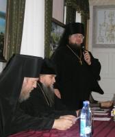 Обращение наместника игумена Августина к участникам конференции. Фото 2011 года.