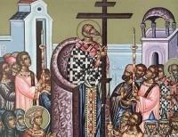 Воздвижение Креста Господня (фрагмент иконы)