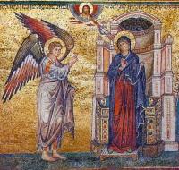 Благовещение Пресвятой Богородицы. Мозаика храма Санта-Мария-Мадджоре. 1295 г.