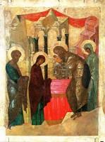 Сретение Господне. Икона 1408 г., мастерская Андрея Рублева.