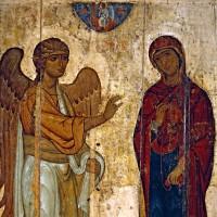 Благовещение Пресвятой Богородицы (фрагмент иконы). XII век, ГТГ.