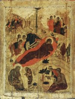 Рождество Христово. Икона из праздничного чина Благовещенского собора Московского Кремля. 1405 г.