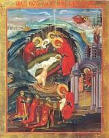 Рождество Христово. Фреска в храме Св. Апостолов в Печском монастыре. Сербия. XIV в.