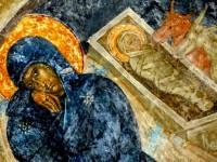 Рождество Христово. Фреска XIV в. в церкви Перивлепты в Мистре (Греция)