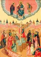 Происхождение Честных Древ Животворящего Креста Господня. Фрагмент иконы.