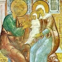 Ласкание Марии. Фрагмент фрески XVII в. Церковь Спаса на Сенях Ростовского кремля