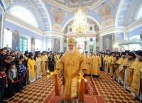 Предстоятель Русской Православной Церкви совершает Божественную литургию, 4 октября 2009 г.
