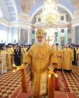 Предстоятель Русской Православной Церкви совершает Божественную литургию в Димитриевском соборе 4 октября 2009 г.