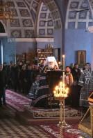 Совершение митрополитом Пантелеимоном Великого повечерия с чтением Великого канона Андрея Критского в Спасо-Яковлевском монастыре.