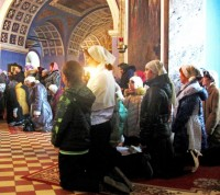 Ученики монастырской Воскресной школы на праздновании дня памяти Святителя Димитрия Ростовского. 10 ноября 2014 г.
