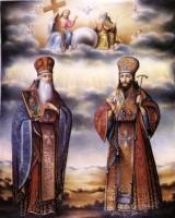 Святители Иаков и Дмитрий Ростовские. Финифть, сер. XIX в.