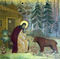 Прп. Сергий Радонежский кормит медведя.