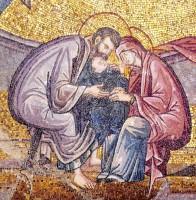 Ласкание Марии. Мозаика собора монастыря Хора в Стамбуле. XIV в.